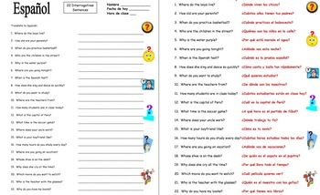 question words in spanish worksheet pdf