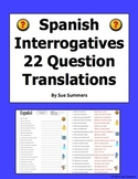 Interrogatives Words Sentences - Spanish Questions Words Worksheet