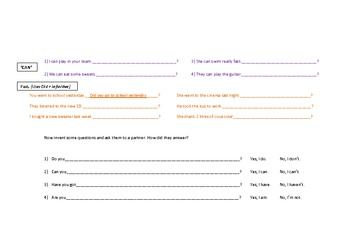 Interrogatives and Question Formation Worksheet for ESL Students