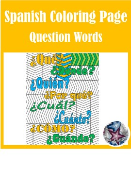Interrogativos Spanish Question Words - Adult Coloring Pages