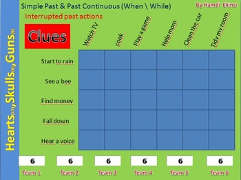 Battle Game for Interrupted past continuous (simple mode)