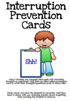 Interruption Prevention Cards