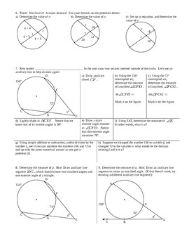 Intersecting Chords Tangents and Auxiliary Lines Spring 2014 (Editable)