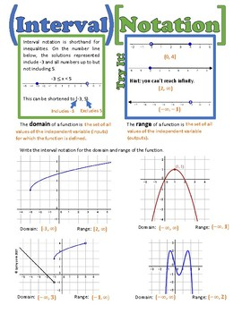 Interval Notation Notes Worksheets Teaching Resources Tpt