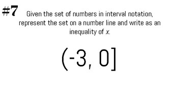 Interval Notation Practice Task Cards with Answer Sheet