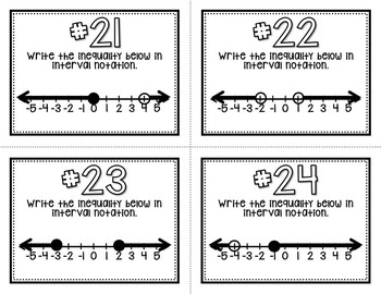 Interval Notation (Task Cards & MATHO)