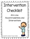 Intervention/Accommodation Checklist