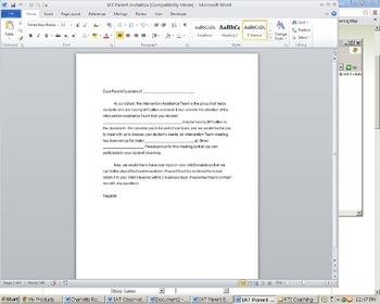 Intervention Assistance Team (IAT) Parent Invitation Letter
