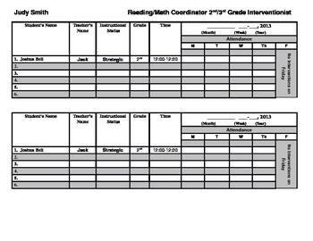 Intervention Attendance Chart:  (Different Version)