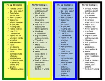 Intervention Bookmark: Fix-up Strategies (editable)