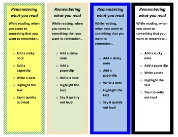Intervention Bookmark: Remembering What You Read (pdf)