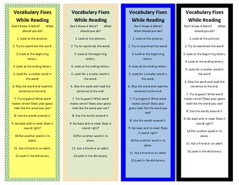 Intervention Bookmark: Vocabulary Fixes--Don't Know a Word? (pdf)