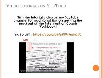 Intervention Coach Workbook - 11 Customizable Spreadsheets