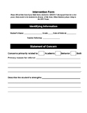 Intervention Data Form-Bringing Students up for Special Ed