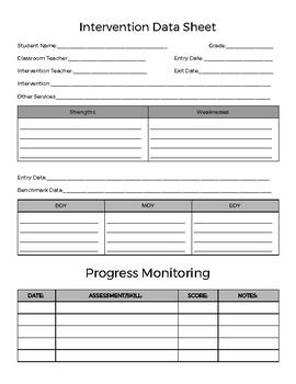 RTI, Intervention Data Sheet, Progress Monitoring, & Teacher Obs. & Notes