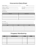 RTI, Intervention Data Sheet, Progress Monitoring, & Teach