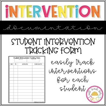 Intervention Data Tracking Form