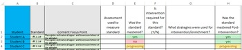 Intervention Data Tracking/Standards Data Tracking