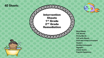 Intervention FLuency Sheets Grade 1 and 2
