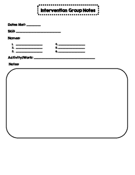 Intervention Group Notes Printable