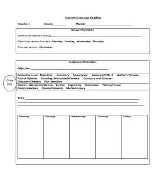 Intervention Lesson Plans for Math and Reading