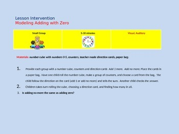 Intervention Lessons for Addition Concepts