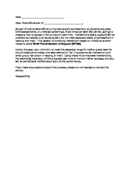 Intervention Parent Letter