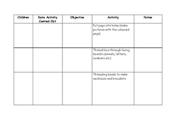 Intervention Planning. Targeted Support for Finger Gym, Numeracy and Writing