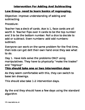 RTI Intervention Plans for Addition and Subtraction