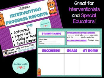 Intervention Progress Report PRINTABLE Template