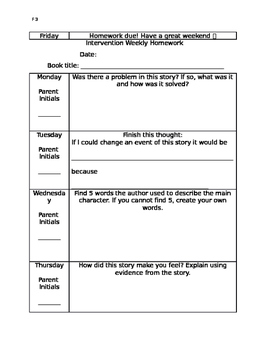 Intervention Reading Homework for Fiction Books