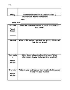Intervention Reading Homework for Nonfiction Books