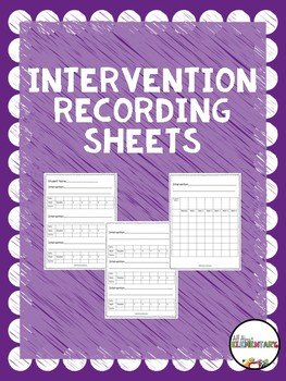 Intervention Recording Sheet
