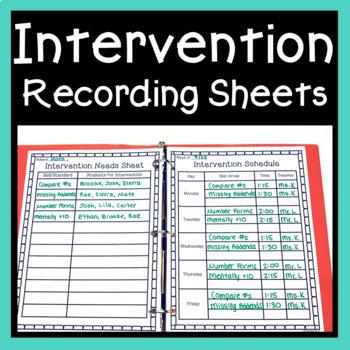 Intervention Recording Sheets ~ Planning & Data Documentation