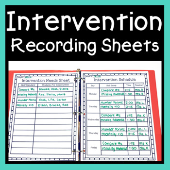 Intervention Recording Sheets ~ Planning & Data Documentation