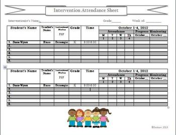 Intervention Resource Chart:  Attendance Chart for Multipl