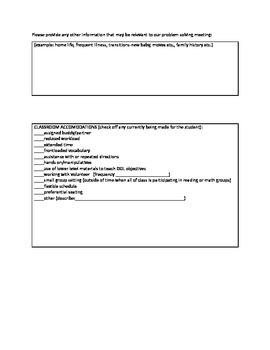 Intervention Team, Child Study, RTI team form