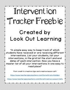 Intervention Tracker Freebie