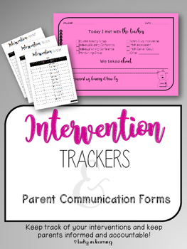 Intervention Tracker and Communication FREEBIE