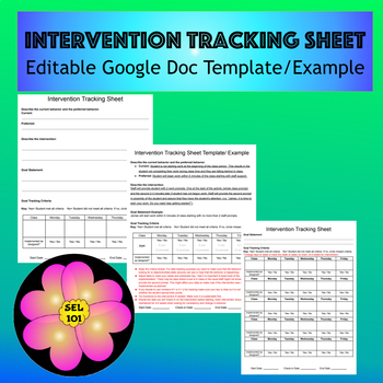 Intervention Tracking Sheet Template/Example