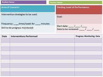 Intervention and Progress Monitoring Recording Sheet