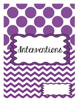 Interventions Anecdotal Notebook
