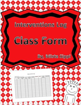 Interventions Log Template Form