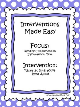 Interventions Made Easy: Reading Comprehension