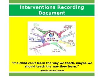 RTI/Interventions Recording Document
