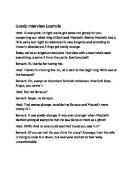 Interview Activity for Act III Macbeth