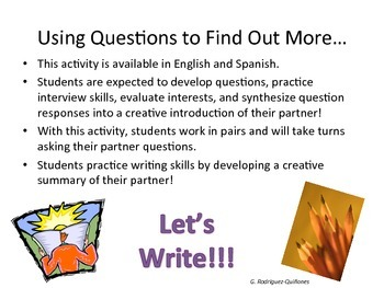 Integrating Writing with Interviewing! (Eng & Spanish)