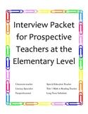 Interview Packet for Prospective Elementary Level Teachers