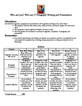 Interview Paragraph and Rubric