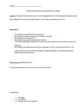 College Panel Interview Project - Spanish 4 accompanies Avancemos 4